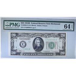 1934 B $20 FEDERAL RESERVE NOTE RICHMOND