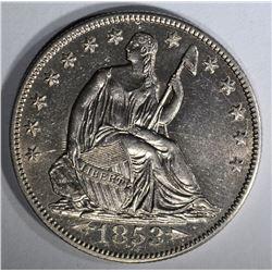 1853-O ARROWS & RAYS SEATED HALF DOLLAR AU/BU