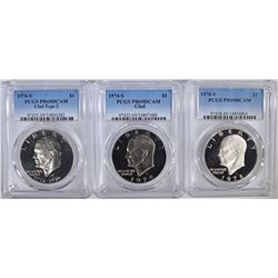 3 PROOF CLAD IKE DOLLARS ALL PCGS PR-69DCAM