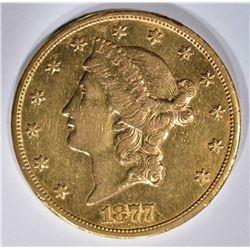 1877-CC $20 GOLD LIBERTY  AU/BU