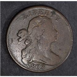 1803 LARGE CENT, CHOICE VG/FINE