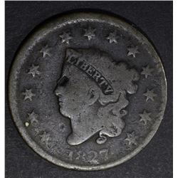 1827 LARGE CENT, N-10 GOOD VERY SCARCE