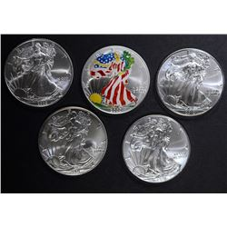 5-BU AMERICAN SILVER EAGLE ONE OUNCE COINS