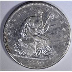1849-O SEATED LIBERTY HALF DOLLAR  AU+
