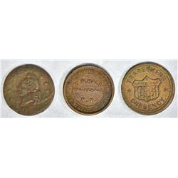 3 CIVIL WAR TOKENS; WHITEHALL, N.Y.,