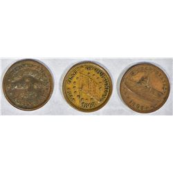 3 CIVIL WAR TOKENS; ALBANY N.Y. PREMIUM