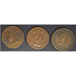 3 CIVIL WAR TOKENS; THIS MEDAL OF G.B.