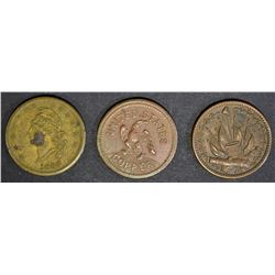 3 CIVIL WAR TOKENS; TRADEDMENS