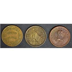 3 CIVIL WAR TOKENS; D.L. WING & CO NY