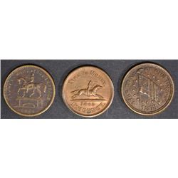 3 CIVIL WAR TOKENS; FIRST IN WAR-FIRST