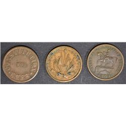 3 CIVIL WAR TOKENS; CONSTITUTION FOR