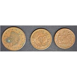3 LG CIVIL WAR TOKENS; H.J. BANG N.Y.