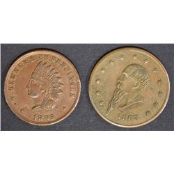 2 LG CIVIL WAR TOKENS; 1863 No1 AVE A