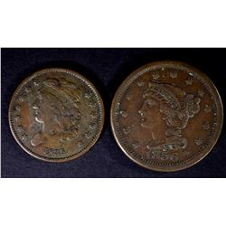 1835 HALF CENT, VF & 1856 LARGE CENT, VF+