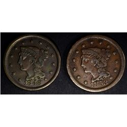 1848 VF/XF & 1853 VF LARGE CENTS