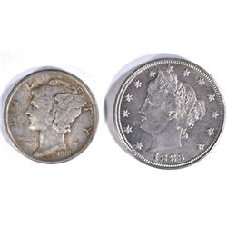 1918 MERCURY DIME XF, 1883 NICKEL