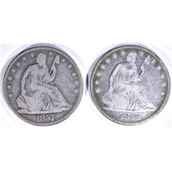 2 - SEATED HALF DOLLARS; 1857 VG &