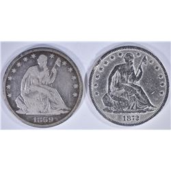 2 - SEATED HALF DOLLARS; 1859-O VG/F &