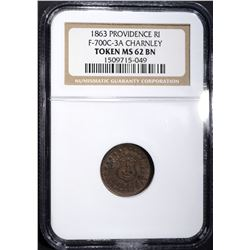 1863 CIVIL WAR TOKEN F-700C-3A NGC MS-62 BN