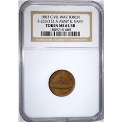 1863 CIVIL WAR TOKEN: F-233/312 A, NGC MS-62 RB