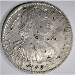 1796 MEXICO 8 REALES chopmarked