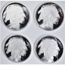 4-INDIAN/BUFFALO 1 OUNCE .999 SILVER ROUNDS