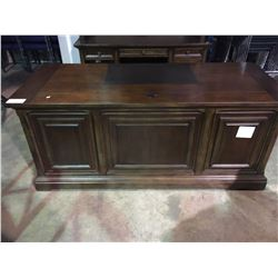 ASHLEY SIGNATURE COLLECTION: WALNUT LEATHER INLAY EXECUTIVE DESK, WITH CREDENZA WITH USB, AND 110V