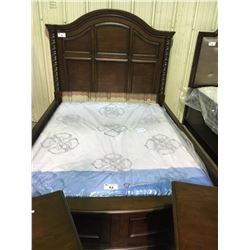 ASHLEY 6 PC QUEEN SIZE CHERRYWOOD BARLEY TWIST  BEDROOM SUITE: HEADBOARD, FOOTBOARD, SIDE RAILS