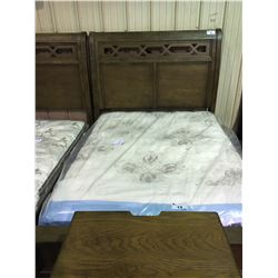 ASHLEY SIGNATURE WALNUT INLAY QUEEN SLEIGH BED , INCLUDES HEADBOARD, FOOTBOARD, AND SIDE RAILS