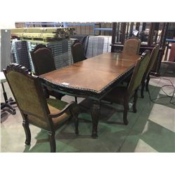 ASHLEY INLAY, CARVED MAHOGANY 11 PIECE DINING SUITE, INCLUDES DINING TABLE WITH 2 LEAVES, 2 PIECE