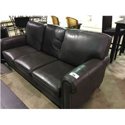 GREY LEATHER 3 SEATER STUDDED SOFA AND LOVESEAT SET