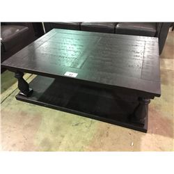 "BLACK DISTRESSED WOOD COFFEE TABLE, 54"" X 40"""