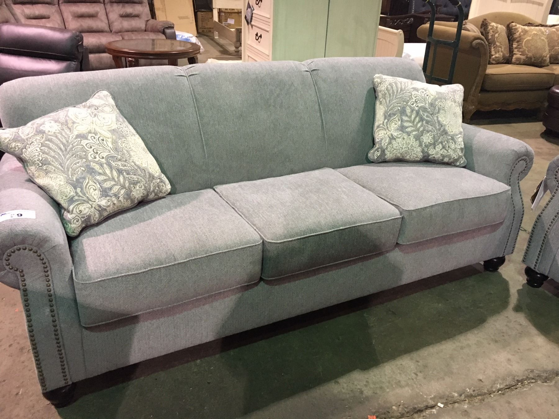 Fine Grey Fabric Studded Front 3 Seater Sofa And Loveseat Set Machost Co Dining Chair Design Ideas Machostcouk