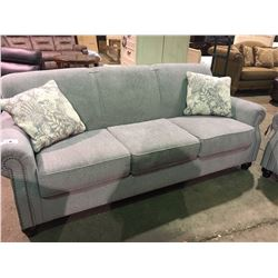 GREY FABRIC STUDDED FRONT 3 SEATER SOFA AND LOVESEAT SET