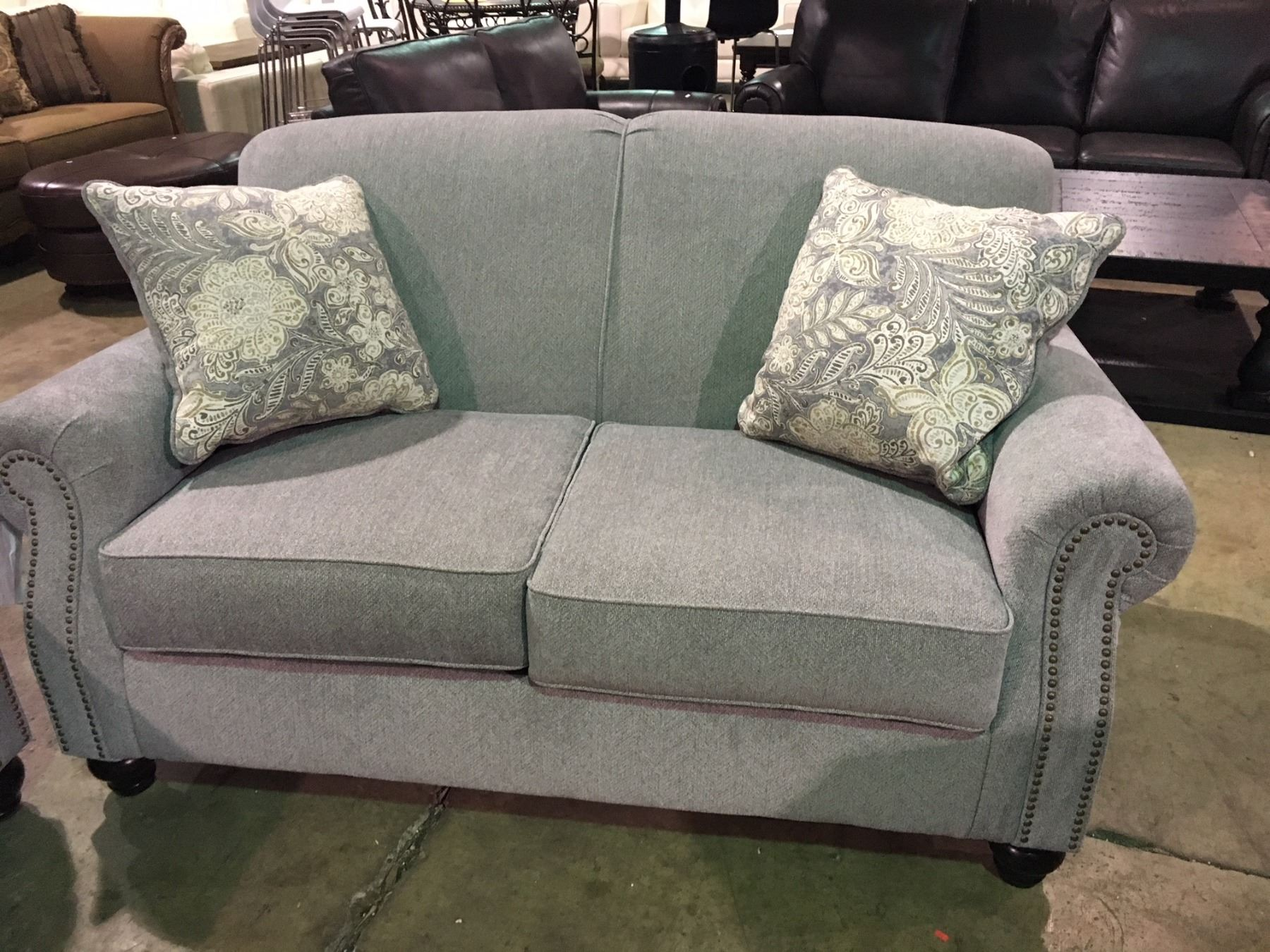 Prime Grey Fabric Studded Front 3 Seater Sofa And Loveseat Set Machost Co Dining Chair Design Ideas Machostcouk