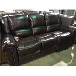 BROWN LEATHER STUDDED 3 SEATER POWER RECLINING SOFA