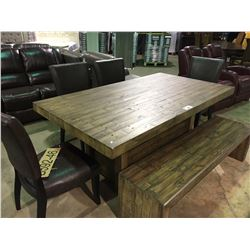ASHLEY SIGNATURE RECLAIMED WOOD 6 PIECE DINING TABLE SET, INCLUDES DINING TABLE, BENCH, AND 4