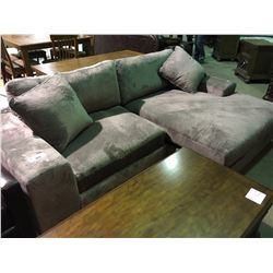 GREY DEEP SEAT FABRIC SECTIONAL WITH LOUNGE
