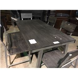 7 PIECE RECLAIMED WOOD AND METAL MODERN DINING TABLE WITH BUFFET AND HUTCH, BENCH, 4 CHAIRS