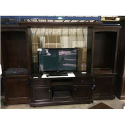 ASHLEY MAHOGANY 4 PIECE ENTERTAINMENT UNIT,  INCLUDES LEFT AND RIGHT TIER. BRIDGE, AND STAND
