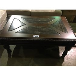 MAHOGANY CARVED INLAY COFFEE TABLE WITH MARBLE INSETS