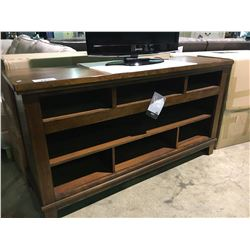 ASHLEY SIGNATURE WALNUT 7 SECTION ENTERTAINMENT CONSOLE
