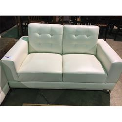 WHITE LEATHER TUFTED MODERN LOVESEAT