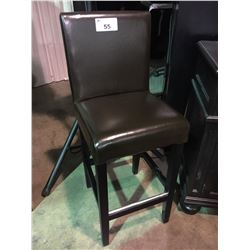 BROWN LEATHER HIGHBACK BAR STOOL