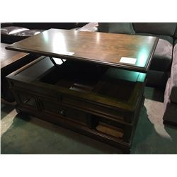 MAHOGANY MOBILE LIFT TOP STORAGE COCKTAIL TABLE