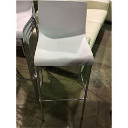 WHITE AND CHROME MODERN STACKING BAR STOOL