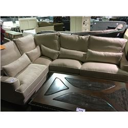 BEIGE FABRIC PILLOWBACK 4 SEATER SECTIONAL , WITH 5  LUMBAR PILLOWS