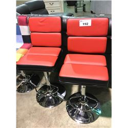 PAIR OF RED AND BLACK AND CHROME GAS LIFT BAR STOOLS