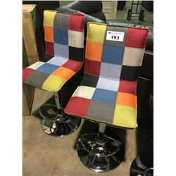PAIR OF PATCHWORK AND CHROME GAS LIFT BAR STOOLS