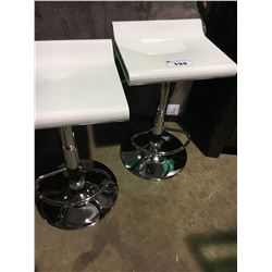 PAIR OF MODERN WHITE  AND CHROME GAS LIFT BAR STOOLS